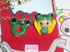 Polymer clay chibi and frog donut by littleflowerz8