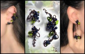 Ear cuff, stud and ring Black currant by JSjewelry