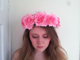 Rosy Cheeks Floral Rose Flower Crown by paradiseshoretwins