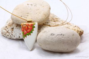 Porcelain rose window pendant by Tuile-jewellery