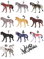 Wolves adoptables - CLOSED by SorahChan