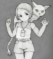 Digimon - Hikari and Gatomon (Sketch) by orion510