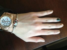 Rose Gold and Green Accent by wittlecabbage