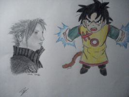 Cloud strife and gohan by twinkelsparky1