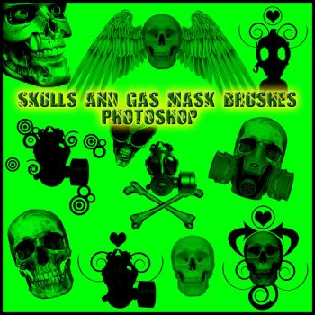 Skull and Gas Mask Brushes PS7 by Forbidden-Stock