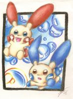 Plusle and Minun : R E M I X : by StarOblivion
