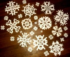 More Paper Snowflakes by InkArtWriter