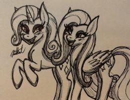Rarity and Fluttershy by KatKathasaHatHat