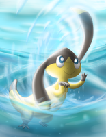 Helioptile Running on the Water by Mewscaper