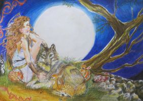 Artemis Goddess of the Moon and Hunt by ginqueeen