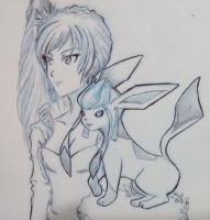 White And Glaceon by direu