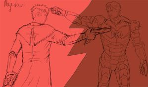 Tony Stark vs Dante by May-dari