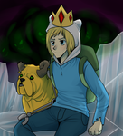 Jake the dog and Finn the human by ninetail-fox