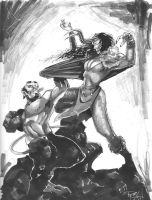 Hellboy vs Girlie Loki by RichardCox