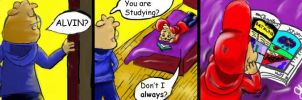 """""""Alvin Studying""""- comic by VegetarianKitty"""