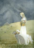 Merovingian Woman with Hounds by akitku