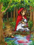 Red not riding hood. Its a red cape hood. by Kidorihalo