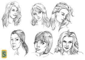Girls Faces Sketching 2 by bloodsplach