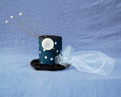 Tiny Top Hat: Polka Dot Pearl With White Side Veil by TinyTopHats