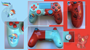 Custom PS4 Controller Rainbow Dash / Foxy FNAF by CARDI-ology