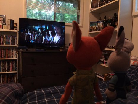 Nick and Judy watching The Warriors by EJLightning007arts