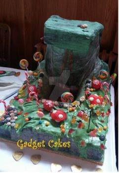 Willy Wonka Cake with chocolate waterfall by gadgetcakes