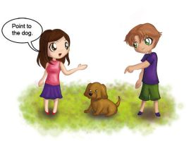 Point to the dog by hitomi--i