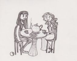 Teatime with Sarah and Belle by Arctic-Ladybug