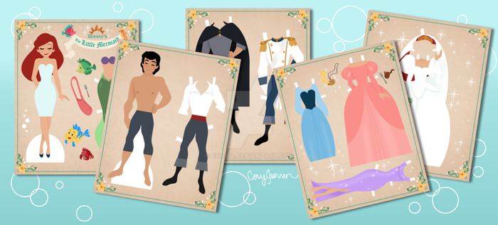 The Little Mermaid Paper Dolls by Cor104