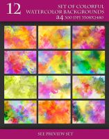 Set of Beautiful Watercolor Background. by Love-Kay