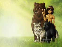 Mowgli and friends by JoBonito