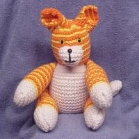 Handmade knit stuffed cat by CreativeCritters