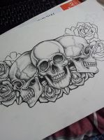 Dot Skull and Roses Chest Piece Tattoo in progress by kirstynoelledavies