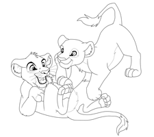 Simba and Nala playing lineart by Kyuubi83256