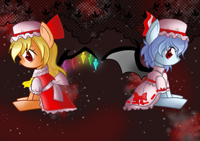 Flandre and Remilia by Derpsonhooves