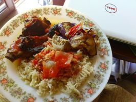 Nasi Ayam and eggplant by plainordinary1