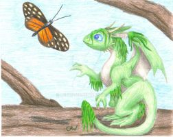 Baby Moss Dragon by Leithster