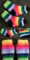 Rainbow socks and gloves by GRichmond