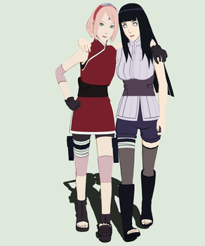 The Last Sakura and Hinata for MMD by StekinoMai