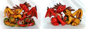 Wedding Cake Topper: Fall Bride and Groom Dragons by Shemychan