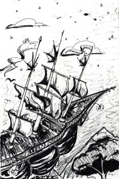 Inktober - Flying Ship by redhood14