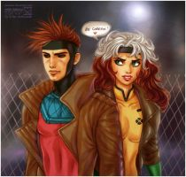 X-men: Gambit + Rogue by daekazu