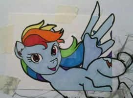 Rough Draft Dashie Sketch Card by PrismQuartz