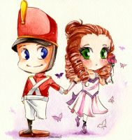 Chibi soldier and ballerina by SimonneX