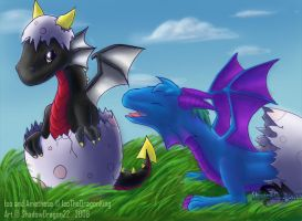 Baby Dragons- Iso and Amethese by ShadowDragon22