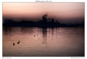 USS New Jersey at Sunrise by yellowcaseartist