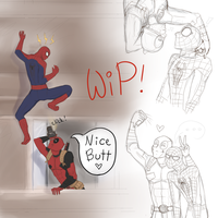 SpideyPool W-I-P by KatzeLexie