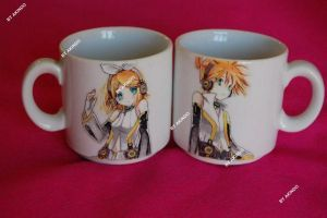 Hand painted Vocaloid ceramic cups by SimonaZ