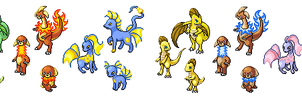 The Starters of Veloe Sprites by Jenicole