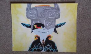 Watercolor/Acrylic Painted Midna by killu-ass